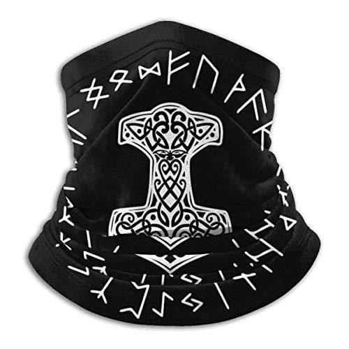 KW-Wosn Multifunktionstuch Bandanas Halstuch Kopftuch Sport Stirnband Winddicht Schlauchtuch Kopftuch Wikinger Mjolnir und Rune Wheel Norse Mythology Symbol