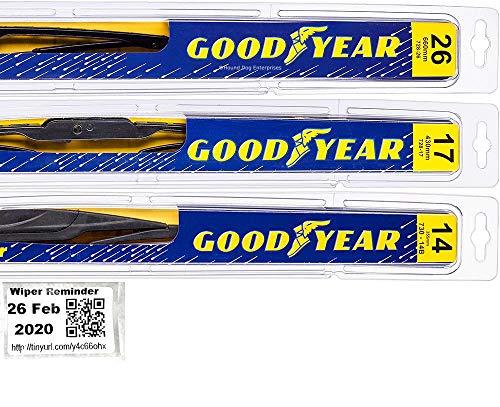 Windshield Wiper Blade Set/Kit/Bundle for 2014-2018 Subaru Forester - Driver, Passenger Blade & Rear Blade & Reminder Sticker (Premium with Goodyear Rear)