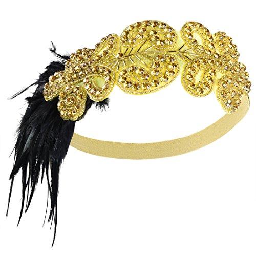 PrettyGuide Damen 1920er Flapper Kopfstück Perlen Feder Stirnband Gatsby Kopfschmuck Gold