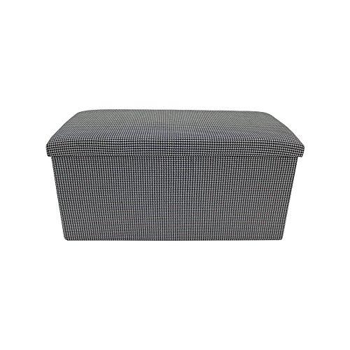 Rebecca Mobili Pouf Pliable, Coffre de Rangement, Noir Blanc, Double en Coton, Rembourre, Ordre Maison - Dimensions: 37 x 76 x 38 cm (HxLxL) - Art. RE6176
