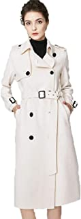 Women's Wool Coat Warm Jacket Double-Breasted Fleece high-end Coat Wool Coat Long Belt Belt Coat Street Fashion (Color : White, Size : XS)
