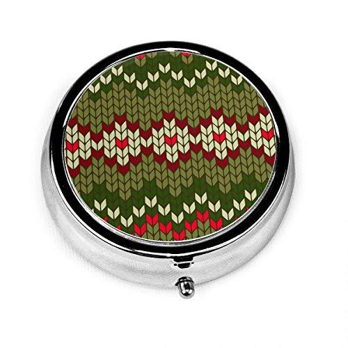 LINGF Color Christmas Estuche para pastillas de medicina con 3 compartimentos Estuche para pastillas redondo de plata con bolsillo de 2 pulgadas Soporte para tableta de medicina Organizador