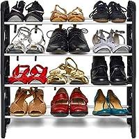 Pureus Foldable Shoe Rack with 4 Shelves (Plastic Rod)
