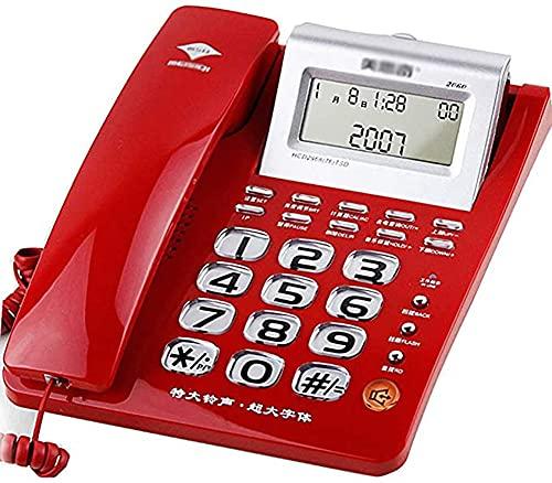 Teléfono Retro, Teléfono Con Cable Teléfono Fijo Con Cable - Pantalla LCD Botón Grande - Con Contestador Automático Bloqueador De Llamadas + Pantalla De Llamada - Teléfono Antiguo Rojo, Oficina, Hotel