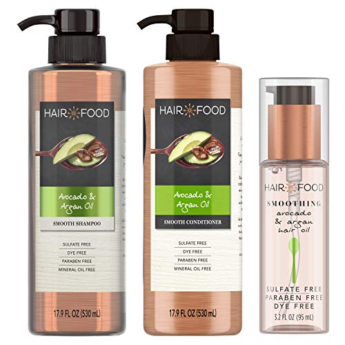 Hair Food Sulfate Free Smoothing Shampoo and Conditioner with Smoothing Hair Oil, Avocado & Argan Oil, Dye Free, Bundle