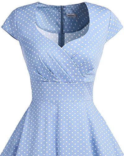 bbonlinedress 1950er Vintage Retro Cocktailkleid Rockabilly V-Ausschnitt Faltenrock Blue Small White Dot S - 4