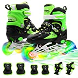 PETUOL Kids Adjustable Inline Skates, Safe Durable Roller with 8 Full Light Up Illuminating Wheels Beginner Skates Fun Roller Skates for Boys and Ladies
