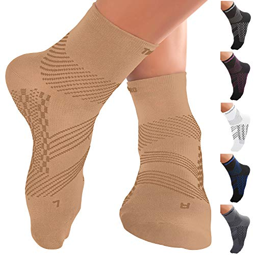 TechWare Pro Ankle Brace Compression Socks - Plantar Fasciitis Sock with Arch Support for Achilles Tendonitis & Heel Pain Relief. Men & Women 1 Pair