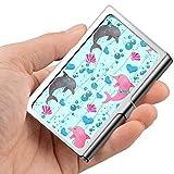 Tarjeta de visita profesional, caja de la cartera de acero inoxidable Titular de la tarjeta de identificación de tarjeta de crédito Lovely Dolphin Pattern