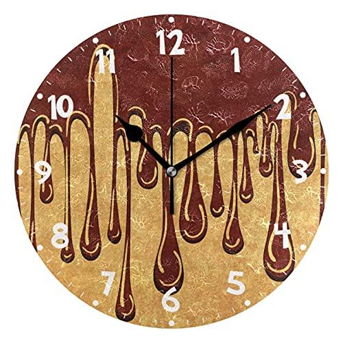 ZHENGYUAN Reloj de pared con pintura abstracta, color marrón y chocolate, sin atar, funciona con pilas, decorativo, acrílico, creativo para el hogar, cocina, baño, escuela, oficina