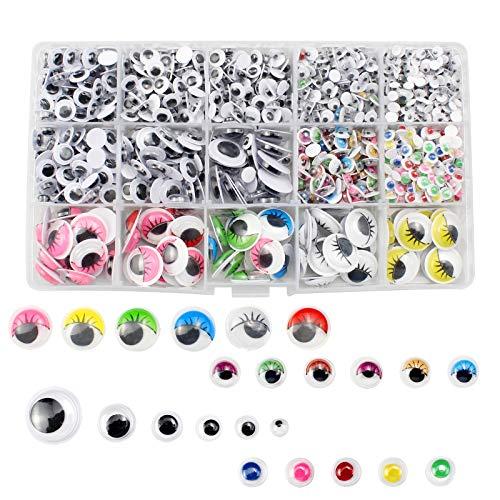 YunBey 1500 Pezzi Occhietti Adesivi di Plastica Occhi Adesivi per Lavoretti Occhi Adesivi Occhi Bambole per Decorazioni Fai da Te Scrapbooking