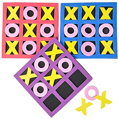 Gamie Small Foam Tic-Tac-Toe Game Set - Pack of 12 - Foam Pieces and Boards - Unique School and...