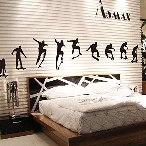 JXCDNB Neue Schwarze Rollschuh Silhouette Wohnzimmer Schlafzimmer nach Hause Wanddekoration Wandaufkleber 60x192cm