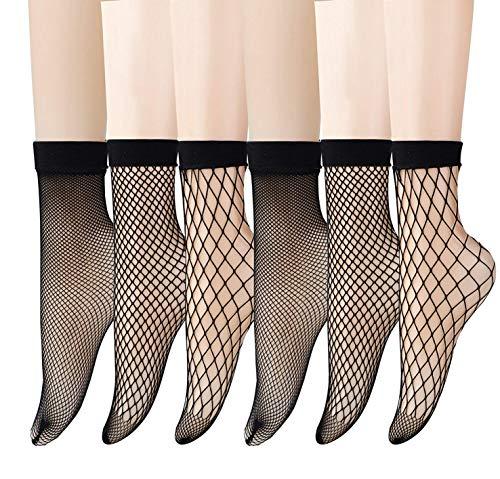 ANDIBEIQI 6 Paar Fischnetz Söckchen Frauen Reizvolle Schwarz Netzstrümpfe Kurze Knöchel Socken