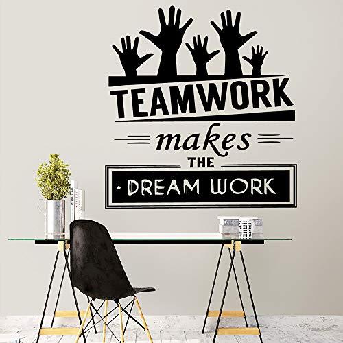 New Teamwork Zitat Wandaufkleber Dekor für Büroräume Dekoration Zubehör Abziehbilder Wandbilder Stickstickers Purple M 30cm X 31cm
