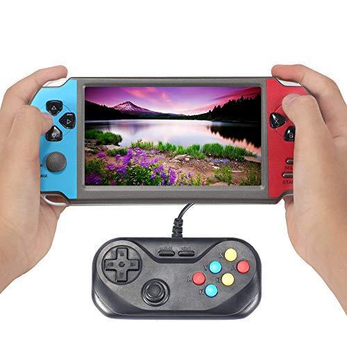 Nouveau CZT Console de Jeu d'arcade à Double Joueur de 5,1 Pouces 8500 Jeux intégrés pour CPS/NEOGEO/FC/SFC/MD/GBA La Batterie de Grande capacité Prend en Charge la Musique vidéo (Bleu-Rouge)
