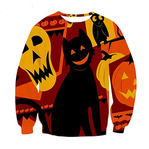 Lowest Prices! Women Sweatshirt and Hoodies Halloween 3D Printed Crew Neck Long Sleeve Casual Plus S...