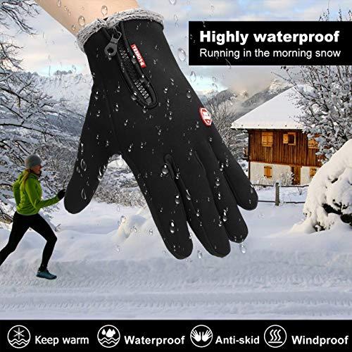 Lzfitpot Unisex Winterhandschuhe Touchscreen Warm Fahrradhandschuhe,Wasserdicht, Winddicht & rutschfest, Schwarz, Gr.- S - 4