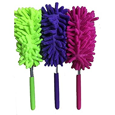 Extendable duster with telescopic pole,soft grip, machine washable, lint-free, cleaning duster for home, office, and car interior and exterior use (random ship color)