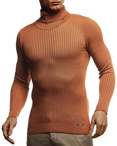 Leif Nelson, LN1670, Pullover da uomo a collo alto, slim fit, a maniche lunghe, nero Rosso - marrone m