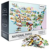 """Jigsaw Puzzles 1000 Pieces for Adults - US National Parks Difficult 1000 Piece Puzzles Educational with Unique Hand-Painted Images by Artists - Large 27.5"""" x 19.7"""", Include Gift Package Storage Box"""