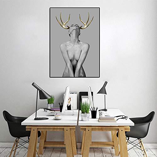 WSNDGWS Moderno Personaje en Blanco y Negro Minimalista Ciervo Cornamenta Chica Arte Abstracto Sala de Estar Dormitorio decoración Pintura sin Marco de Imagen A3 40x50cm