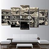 Airxcn Imágenes Pinturas sobre Lienzo 5 Piezas Mustang 1965 Gran Lienzo Arte de Pared 5 Paneles decoración Moderna Obra de Arte Regalo Creativo