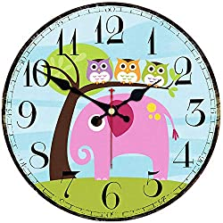 Shuaxin Cartoon Cute Animal Design Ultra Big Numerals Wall Clock for Kids Room and Children Room Decoration,14 Inch Wooden Elephant and Owl Wall Clock