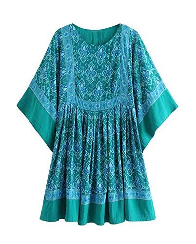 R.Vivimos Women's Summer Cotton Half Sleeve Casual Loose Bohemian Floral Tunic Dresses (Small, Green)