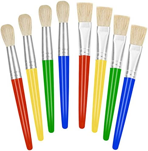 Paint Brushes for Kids 8 Pcs Big Washable Chubby Toddler Paint Brushes Easy to Clean Grip Round product image