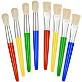 Paint Brushes for Kids, 8 Pcs Big Washable Chubby Toddler Paint Brushes, Easy to Clean & Grip Round and Flat Preschool Paint Brushes with No Shed Bristle for Acrylic Paint, Washable Paint
