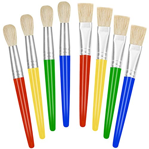 Paint Brushes for Kids, 8 Pcs Big Washable Chubby Toddler Paint Brushes, Easy to Clean & Grip Round and Flat Preschool Paint Brushes with No Shed Hog Bristle for Acrylic Paint, Washable Paint