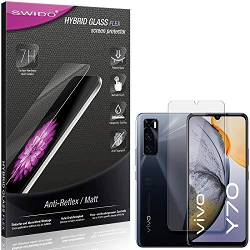SWIDO Panzerglas Schutzfolie kompatibel mit Vivo Y70 Bildschirmschutz Folie & Glas = biegsames HYBRIDGLAS, splitterfrei, MATT, Anti-Reflex - entspiegelnd
