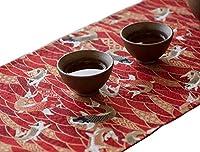 Mon 鯉 の 和風 テーブルランナー 端午の節句 こどもの日 お茶室 和食 懐石の部屋 (赤 150)