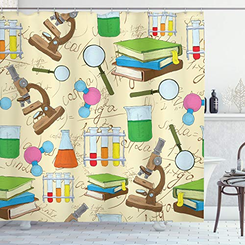 Ambesonne School Shower Curtain, Science Education Lab Sketch Books Equation Loupe Microscope Molecule Flask Print, Cloth Fabric Bathroom Decor Set with Hooks, 70' Long, Cream Green