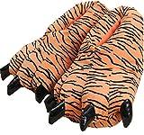 Pijama de Dinosaurio Unisex Lindo hogar Caliente Zapatillas de Felpa (Medio 35-39 UE, Patrón de Tigre)