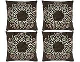 SusggO Juego de 4 Fundas de Cojin Cuadradas de Terciopelo Iguales 40 cm x 40 cm. para Almohada Decorativas Sofa Dormitorio Hogar Marron Beige (40 X 40 CM, Marron - Beige, 4)