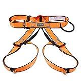 TRIWONDER Arnés de Escalada Proteger Cinturones de Seguridad Arneses de Medio Cuerpo para Escalada de Rock Montañismo Alpinismo Expedición (Naranja)