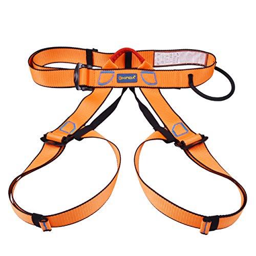 TRIWONDER Imbracatura da Arrampicata, Cintura di Sicurezza Imbrago Utilizzabile per Arrampicata Ferrata Alpinismo Lavori ad Altezza (Arancione)