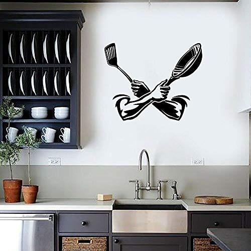 Ideas de decoración de comedor de restaurante de cocina de vinilo de espátula de pared de cocina creativa clásica | Adecuado para niños, niñas, dormitorio, jardín de infantes, fiesta, boda