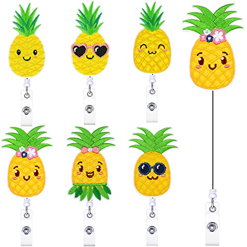 6 Pieces Pineapple Badge Reel Felt Embroidered Badge Holder Summer Retractable ID Badge Reel with Alligator Clip Cute Fruit Shaped ID Card Holder for Nurse Volunteer Student Office Worker