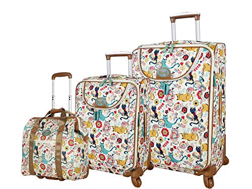 Lily Bloom Luggage 3 Piece Softside Spinner Suitcase Set Collection (Furry Friend)