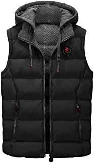 Landscap Men Zip Quilted Padding Puffer Vest Double-Sided Wear Winter Warm Sleeveless Vest Hooded Jacket