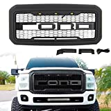 VZ4X4 Raptor Style Grille Compatible with Ford 2011 2012 2013 2014 2015 2016 F-250 F250 F350 F450 F550, Mesh Grill - Matte Black
