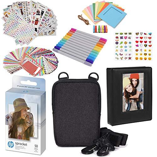 HP 2 x 3 Pulgadas Premium Zink Papel fotográfico (Paquete de 50) Kit de Accesorios con álbum de Fotos, Estuche, Pegatinas, marcadores