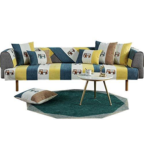 YUTJK Elefantenstreifen-Sofakissen, Für Haustiere Couch Sofa Überwürfe, Anti-rutsch Übergroßen Spitze Couch Sofa Überwürfe Couch-Shield, Sofaschoner, Für Ledersofas, Gelb