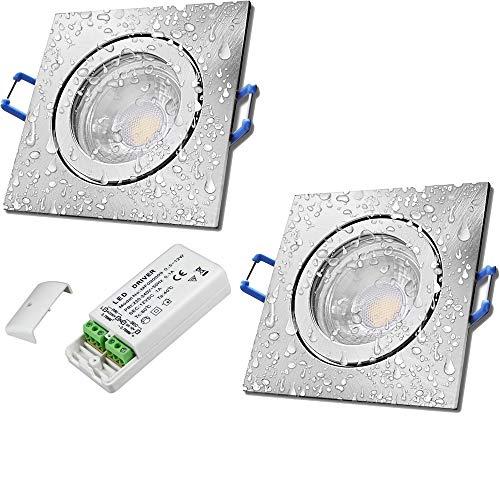 LED Bad Einbaustrahler 12V inkl. 2 x 5W LED LM Farbe Eisen geb. IP44 LED Einbauleuchten Neptun Eckig 3000K mit Trafo