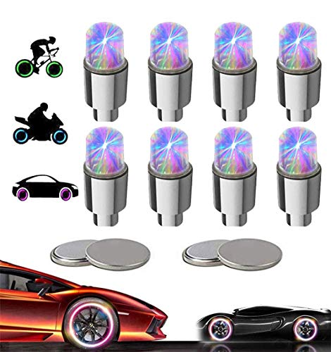 Yinch 8 Stück LED Ventilkappen Fahrrad Reifen Beleuchtung Speichenlicht Fahrrad Ventilschaftkappe Licht Autozubehör für Fahrrad Auto Motorrad oder LKW mit 10 Zusätzlichen Batterien (Bunt)