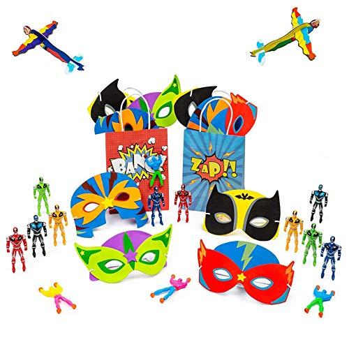 10 Superheld Partytaschen mit Füllungen, beinhaltet mehrere Superhelden Spielzeuge Mitgebsel - Masken, Tattoo-Aufkleber, Segelflugzeuge & Mehr - für Enthusiasten, Partygeschenke & Taschenfüllungen