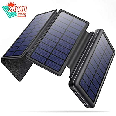 Solar Charger 26800mAh, Portable Charger with 4 Solar Panels for Outdoor, High Capacity Solar Power Bank With Dual Output Type-C Input External Battery Pack for iPhone, Galaxy S10, Pixel 3, Tablet etc